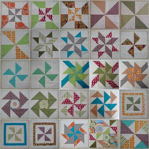 Mosaic pinwheel sampler blocks