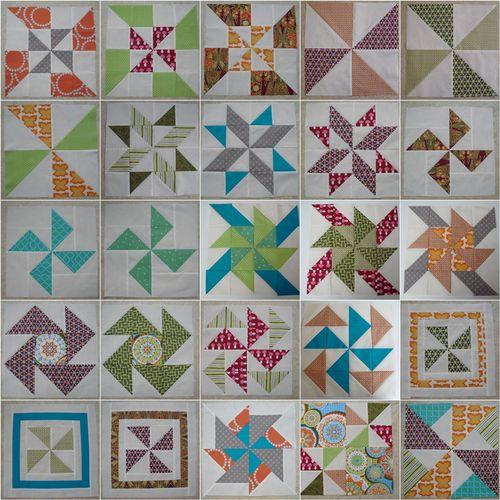 Mosaic pinwheel sampler blocks